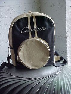 2-Tone Leather Moto Backpack, with vintage chrome