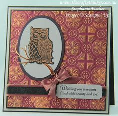Still Night stamp set from Stampin' Up! Christmas Owls, Stampin Up Christmas, Christmas Minis, Christmas Crafts, Fall Cards, Xmas Cards, Owl Punch Cards, Memory Box Cards, Owl Card