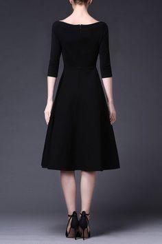 d242c017daa4e A Line Waisted Midi Dress · Vestidos FlojitosVestidos Negros ...