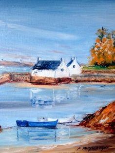 Montsarac SENE - Peinture,  22x27 cm ©2008 par André Kermorvant -                            Peinture contemporaine, Montsarac SENE, son petit port, la mer, le rivage
