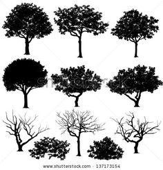 Vectores de árboles en siluetas. Cree  muchos más árboles con hojas y árboles desnudos en la parte inferior