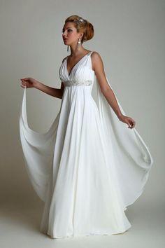 Greek Style Wedding Dresses with Watteau Train 2016 V-neck Long Chiffon Grecian Beach Maternity Wedding Gowns Grecian Bridal