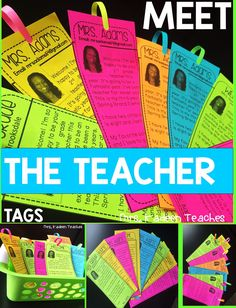 Meet the Teacher made quick and easy. These free and  simply little tag cards will give a great introduction to any teacher. Make the template your own buy adding and formatting to your liking.