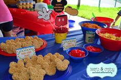Rice Krispie treats at a Mickey Mouse Clubhouse birthday party! See more party planning ideas at CatchMyParty.com!