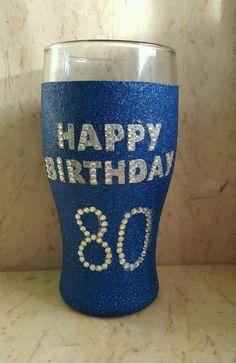 Personalised glittered pint glass