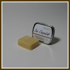 AU CHOCOLAT BAR Pocket Size (.71 oz) Solid at room temperature, the Au Chocolat hard lotion bar is designed to specifically protect hands and feet from cracked skin and extreme dry skin. Made with cocoa butter, this bar has a light, natural chocolate scent. | HardLotion.com #skincare #moisturize