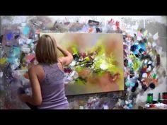 """Démonstration de peinture abstraite Elisabeth - Toile """"Emotion"""" - YouTube"""