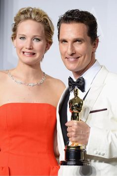 Jennifer Lawrence and Matthew McConaughey at the Oscars Press Room #Oscars2014