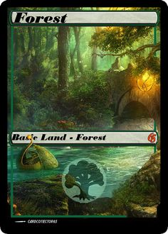 M15 style FOREST 1.1 ==== MTG Dragons of Tarkir, M15, Lands, Tokens, Spells, Magic the Gathering by cardco11ector65 on Etsy