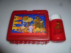 VINTAGE ALF TV SHOW PLASTIC  LUNCH BOX PAIL  & THERMOS 1987 ALIEN PRODUCTIONS
