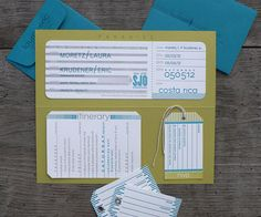 Modern Boarding Pass Wedding Invitations