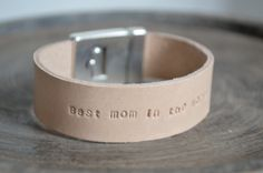Personalized Leather Bracelet. Beige sand Leather. by ByCeci