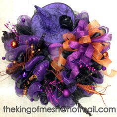 Let's get ready for #Halloween, create your own mesh wreath or order yours at: thekingofmesh@hotmail. com- Introducing my newest #meshwreath from latest #witch collection. I got all my supplies at @MichaelsStores #craftssupplies #decomesh #custom #mesh #michaelsstores @thekingofmesh #homedecor #polydecomesh #hat #fun #colourful #orangel #purple #flowers