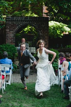 They ran down the aisle to the Doctor Who theme music!