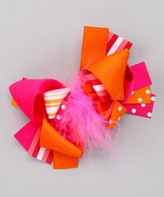 This Diva Daze Orange Fiesta Bow by Diva Daze is perfect! #zulilyfinds