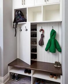 Under Stairs Storage Shoes Mud Rooms 25 Ideas Understairs Storage Ideas mud Room.Under Stairs Storage Shoes Mud Rooms 25 Ideas Understairs Storage Ideas mud Room.ideas mud room rooms shoes stairs Painted white cabinets with stained Coat Closet Organization, Home Organization, Closet Shoe Storage, Organization Ideas For Shoes, Small Entryway Organization, Organized Entryway, Organized Closets, Organization Station, Wardrobe Storage