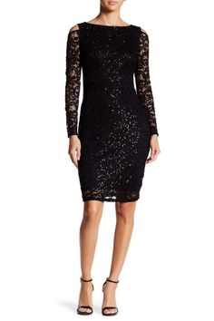 NWT MARINA Cold Shoulder Lace Sequin Bodycon 6 Cocktail Dress $119 #Marina #Stretch #Bodycon #/sequin #Lace #Dress