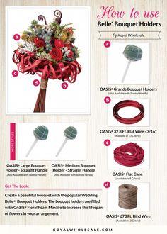 DIY Tutorial: How To Use Belle Bouquet Holders    Blog Post:http://blog.koyalwholesale.com/?p=6042    #DIY #DIYWedding #weddingbouquet #bouquetideas #howto #largebouquet #OASIS #bouquetideas #floralfoam