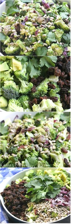 Healthy Creamy Broccoli Salad. Perfect for Summer BBQ's.Tangy, slightly sweet and delicious!