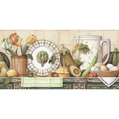 Tulips And Dishes Wallpaper Border, Multicolor