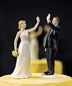 High Five Wedding Cake Topper made of hand-painted porcelain. The bride is wearing a traditional strapless white gown and holding a bouquet while giving the groom a high five. The groom is wearing a classic black suit while giving his bride a high five. Funny Wedding Cake Toppers, Bride And Groom Cake Toppers, Wedding Topper, High Five, Wedding Groom, Bride Groom, Funny Cake Toppers, Dream Wedding, Wedding Day