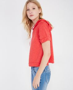 Cropped Pullover Hoodie With Roll Sleeves | Wet Seal