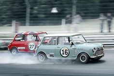 Photo of Morris Mini's racing.  v@e.