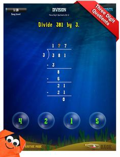 Third Grade Math Apps - Division - Divide multiples of 10 Worksheet