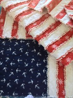 American Flag Rag Quilt  The red and white flannel is 2 yards each, cut into 3 inch strips with cotton batting in the middle. The blue flannel is 16.5in x 16.5in. I simply sewed the strips together and left the blue whole but free stitched the stars on both sides to give it a different texture. I think it turned out pretty neat. This is a gift for my boat loving parents for their 41st wedding anniversary!   Next time I make this I will purchase more red and white fabric so the quilt will be…