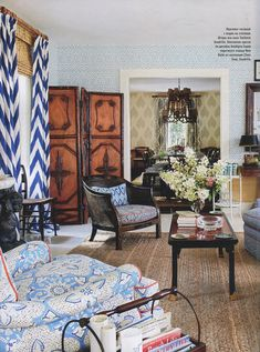Alan Campbell Meloire Reverse chair Quadrille Tashkent curtains China Seas New Batik chair