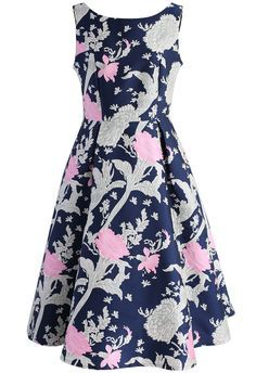 Dashing Bouquet Jacquard Prom Dress in Navy - New Arrivals - Retro, Indie and Unique Fashion