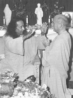 "Paramhansa Yogananda blessing Rajarsi Janakananda - Rajarsi has such a sweet. Master called him ""little one."