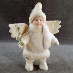 Old, Snow Baby Angel, Bisque Doll with Christmas Tree
