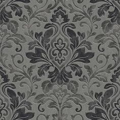Mozart Black (414600) - Arthouse Wallpapers - A classic damask design with a contemporary shabby chic twist. Shown in the Black colourway. Please request sample for true colour match.