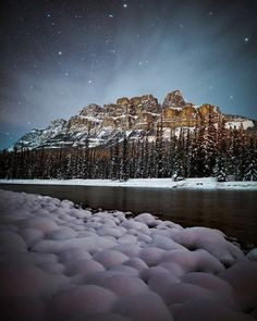 Looking back to a snowy evening at Castle Mountain in Banff National Park. Nothing like a clear sky after a fresh snowfall! Snowy Mountains, Rocky Mountains, Banff National Park, National Parks, Cool Pictures, Beautiful Pictures, Canadian Rockies, Wild Nature, Dark Skies