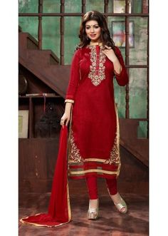 Party Wear Red Bhagalpuri Silk Salwar Suit - 73681