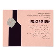 black damask wine themed bridal shower invitations