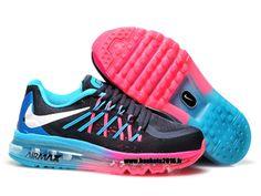 Boutique Officielle Nike Air Max 2015 Chaussures Pas Cher Pour Femme Noir - Bleu - Rouge