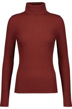 A.L.C WOMAN EMMA RIBBED MERINO WOOL-BLEND TURTLENECK SWEATER COPPER. #a.l.c #cloth #