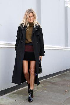 Zara patchwork skirt, Maje coat, J.Crew boots #StreetStyle