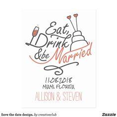 Save the date design. #savethedate #eatdrinkandbemarried #comicweddinginvitations #weddinginvitationcard