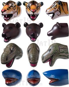 Giant Inflatable Animal Heads: Blow-up Tiger, Bear, Shark, and Dinosaur