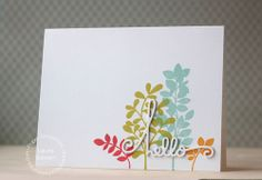 Card by PS DT Laura Bassen using the PS Botanicals 2 stamp set and Hello Word dies