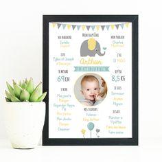 Affiche personnalisée baptême - thème éléphant Theme Bapteme, 28 Mai, Baby Love, Projects To Try, Frame, Marcel, Communion, Elephant, Scrapbooking