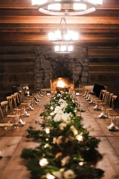 elegant rustic harvest table wedding tablescape with greenery garland and cross back dining chairs | Original Gatherings and Details from 12th Table
