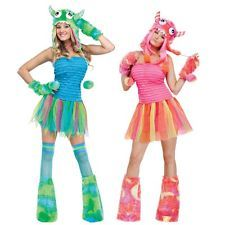 SEXY Kuh Monster KLEID + MÜTZE + HANDSCHUHE + STULPEN Damen Kostüm in PINK BLAU