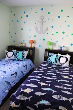 Shark boys room - Creative Bedroom Ideas for Boys – Shark boys room Boys Bedroom Decor, Small Room Bedroom, Bedroom Themes, Bedroom Ideas, Childrens Bedroom, Trendy Bedroom, Shark Bedroom, Ocean Bedroom, Ideas Dormitorios