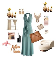Down Home Class by raq-house-styles on Polyvore featuring polyvore fashion style Chicwish Christian Louboutin Fendi Accessorize Oscar de la Renta Bloomingdale's Casetify Bobbi Brown Cosmetics Elizabeth Arden NARS Cosmetics Global Views clothing halterdresses