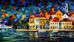Town Marina - LARGE SIZE Limited Edition High Quality Artistic Print on Cotton Canvas by Leonid Afremov   Leonid Afremov   AfremovPrintShop.com