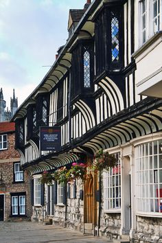 Half timbered former houses of the priests of York Minster Cathedral on College Street, City of York,England